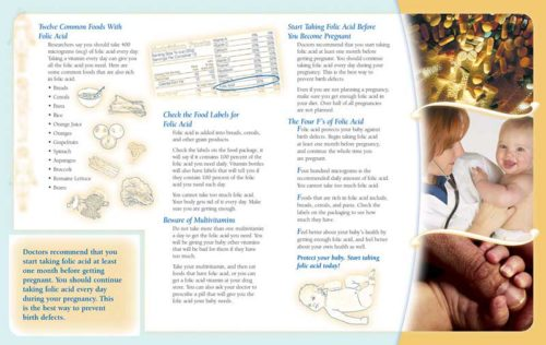 Folic Acid: Learn How It Helps Your Baby's Health Pamphlet