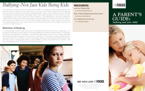InFocus: A Parent's Guide: Bullying and Your Child Pamphlet-5913