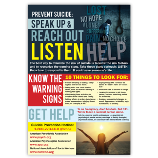 Prevent Suicide: Speak Up & Reach Out Poster