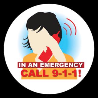 """In an Emergency, Call 9-1-1"" Sticker"