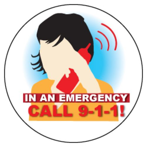 """In an Emergency, Call 9-1-1"" Sticker"