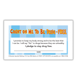 """""""Count On Me to be Drug-Free"""" Pledge Card"""