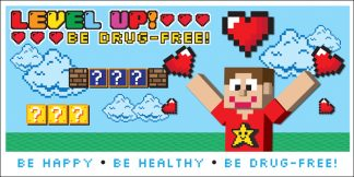 Level Up! Be Drug-Free! Banner