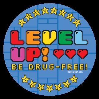 """Level Up! Be Drug-Free!"" Sticker"