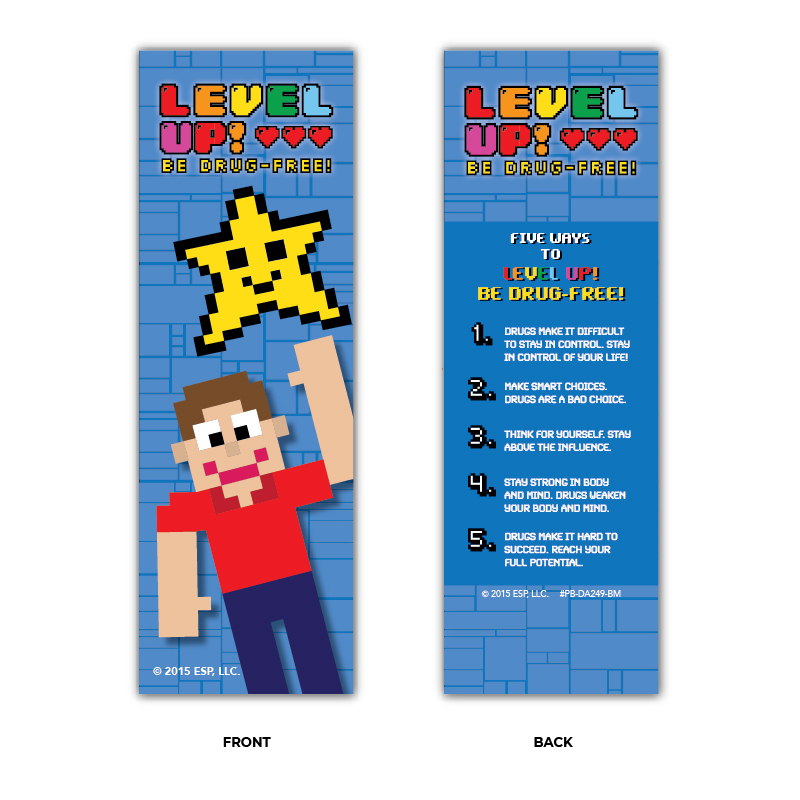 """Level Up! Be Drug-Free!"" Bookmarks"