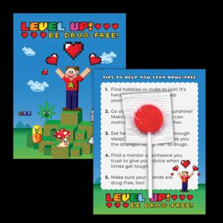 """""""Level Up! Be Drug-Free!"""" Lollipop Card"""