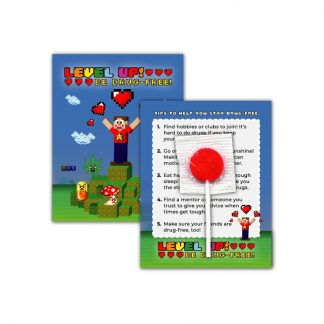 """Level Up! Be Drug-Free!"" Lollipop Card"