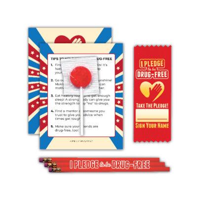 """I Pledge to be Drug-Free"" Lollipop Card MiniPak"