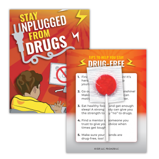 """""""Stay Unplugged from Drugs"""" Lollipop Card"""