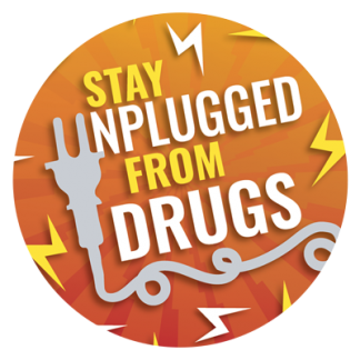 """""""Stay Unplugged from Drugs"""" Sticker"""