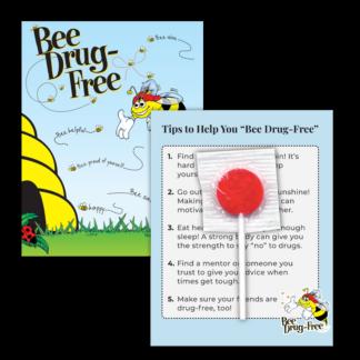 """'Bee' Drug-Free"" Lollipop Card"