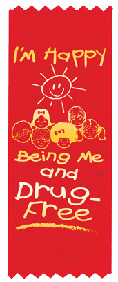 """I'm Happy Being Me and Drug-Free"" Red Ribbon"