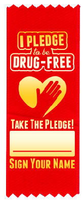 """I Pledge to be Drug-Free"" Red Ribbon"