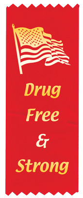 """Drug Free & Strong"" Red Ribbon"