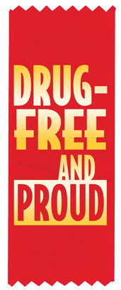 """Drug-Free & Proud"" Red Ribbon"