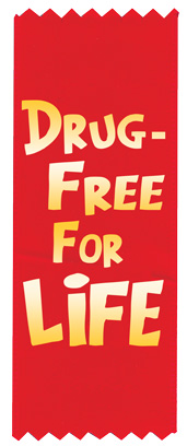 """Drug-Free for Life"" Red Ribbon"