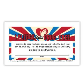 """I Pledge to be Drug-Free"" Pledge Card"