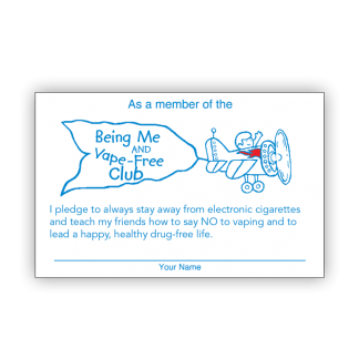 """""""Being Me and Vape-Free!"""" Pledge Card"""