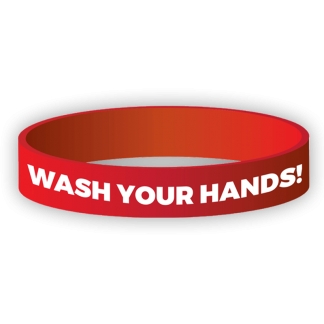 """""""Wash Your Hands"""" Silicone Wristband"""