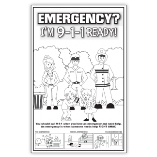 """""""Emergency? I'm 9-1-1 Ready!"""" Color Me Poster"""