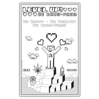"""""""Level Up! Be Drug-Free!"""" Color Me Poster"""