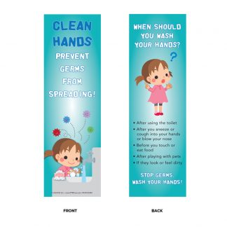 """Clean Hands Prevent Germs from Spreading!"" Bookmark"