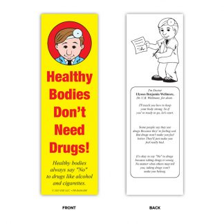 """Healthy Bodies Don't Need Drugs!"" Bookmark"