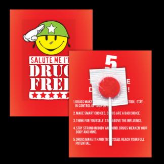 """Salute Me! I'm Drug Free!"" Lollipop Card"