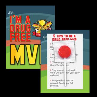 """I'm a Drug Free MVP"" Lollipop Card"