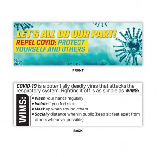 """Let's All Do Our Part! Repel COVID: Protect Yourself and Others"" Bookmark"