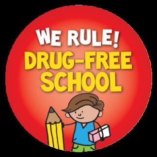"""We Rule! Drug-Free School"" Sticker"